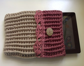 iPad cover with lace - crochet