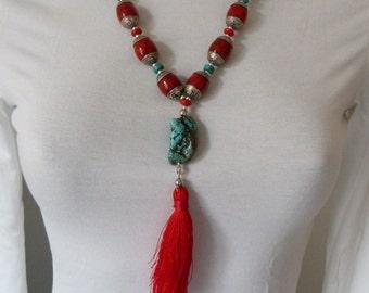 100% Tibetan red tassel NECKLACE