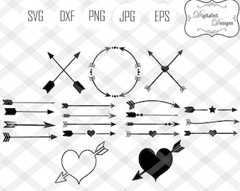 arrow svg, arrows svg, circle arrow svg, decorative arrows, tribal arrow svg, heart arrow svg, arrow clipart, cricut cut files, silhouette