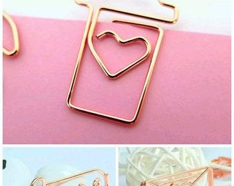 Rose Gold Paper Clip, Coffee Paper Clip, Envelope Paper Clip, Love Paper Clip, Camera Paper Clip, Heart Paper Clip Rose Gold Clips