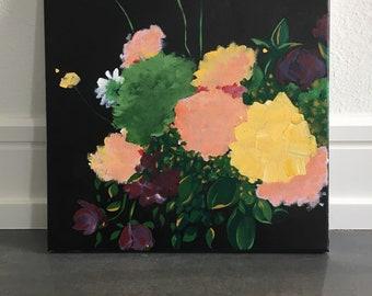 Original art - acrylic on canvas - still life painting of flowers