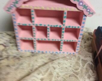 Adorable Vintage Shabby Chic Handpainted Pink Wooden Wall Shelf, Nursery Display Shelf  Wall Decor  Keepsake Storage Baby Shower