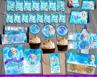 Frozen Party Package - PERSONALIZED - Queen Elsa Birthday Party - Elsa Party decoration - cards tags wrappers signs labels toppers