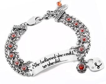 Graduation Bracelet, Personalized Monogram, Adjustable Bar Bracelet, Crystals Bar Bracelet, ID Bracelet, choice of crystals