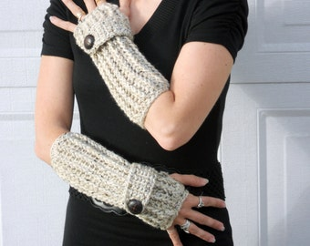 Speckled sand arm warmers, texting gloves, crochet fingerless gloves, crochet arm warmers, hand warmers, winter gloves, button gloves