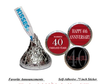 Anniversary Party, Table Decorations, 10th Anniversary, 40th Anniversary, Kiss Stickers, Party Favors, Vow Renewal (Set of 108) (RFabYrs)