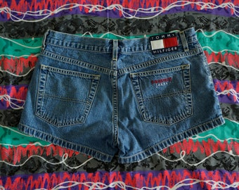 Vintage 90s Tommy Hilfiger Blue Jean Shorts Size 9 Big Flag Spellout Zip Fly