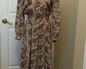 Vintage Sam Noah dress size 12 paisley floral dress