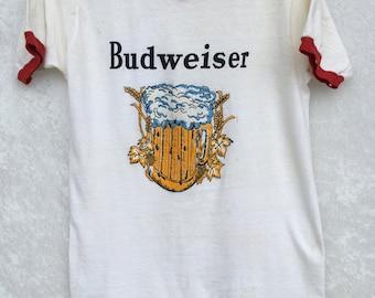 Rare Original Vintage 1970s Budweiser Ringer Shirt