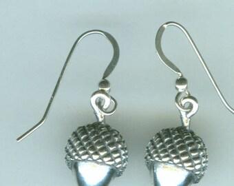 Sterling Silver ACORN Earrings - Strength, Oak Tree