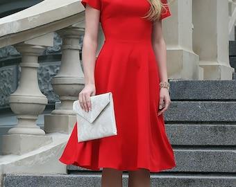Midi Dress, Bridesmaid Dress, Red Dress, Formal Dress, Evening Dress, Women Dress, Midi Circle Dress, Spring Dress, Short Dress