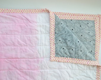 Pink Dip Dye Baby Quilt - baby gifts for girls - handmade quilt - dip dye - ombre color - ombre bedding - baby girl nursery bedding