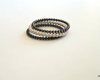 Silver beaded solid stacking rings// fine bead rings // skinny rings // gifts for her
