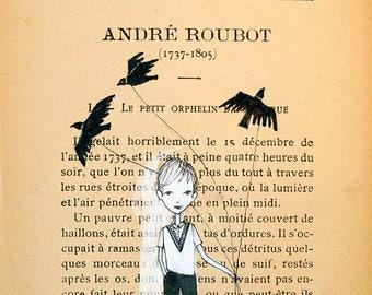 Boy walking birds - Book Pages illustration, Pen and paint, strange world, print 5x7