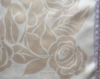 Vintage Liberty of London Cream and Beige Floral Silk Scarf