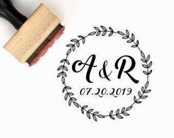 Save the date - Custom Wedding Pre-Designed Rubber Stamp - Branding, Packaging, Party, Invitations, Tags, Wedding Favors - W009