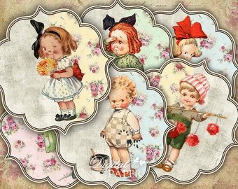 Pastel Stickers - Vintage Children - set of 6 - digital collage sheet