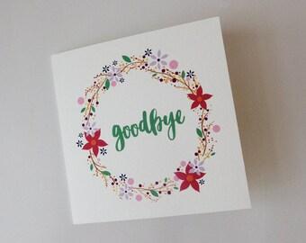 Flower Wreath Goodbye Card