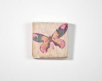 Butterfly Art Block, Art Blocks, Boho Art, Wood Printing, Wood Block Art, Small Art, Vintage Art Print, Butterfly