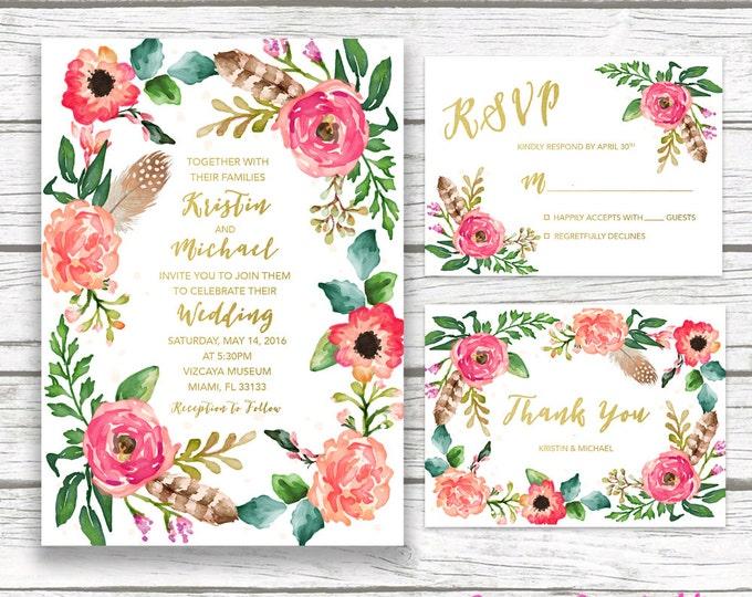 Boho Wedding Invitation, Gold Foil Wedding Invitation, Floral Wreath Feather Wedding Invite, Southwestern Printable Wedding Invitation