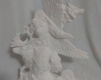 "Native American Spirit Animal Totem 12"" Ceramic Bisque, Ready To Paint"