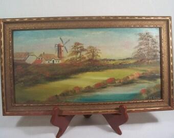 Vintage Paintings Windmills Pair  S232