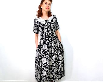 1950s Cotton Dress Paisley Print Peter Pan Collar Black and White Vintage 50s Dress Small