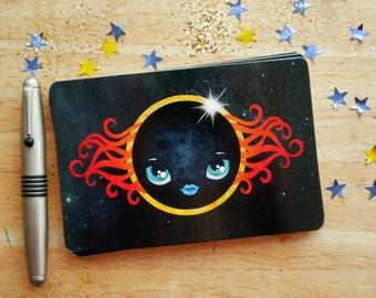L'éclipse solaire de carte postale, astronomie, lune visage, courrier, Postcrossing