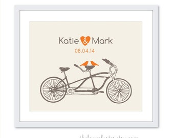 Wedding Personalized Couples Print - Love Poster- Tandem Bike and birds - Wall Art - Orange
