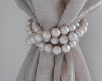 SET OF 4 decorative big faux pearls drapery holders, tie backs, shabby chic curtain holders