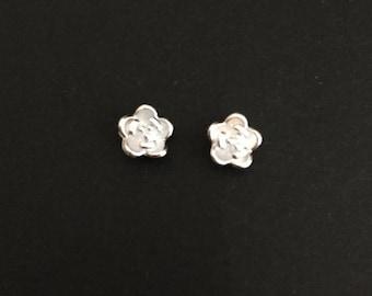 Tiny Sterling Silver Rose Studs. Rose Earrings. Silver Flower Earrings. Gift for Flower Girls. Wedding Earrings. Silver Rose Earrings.