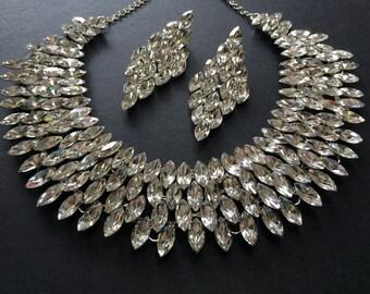 Sparkle necklace, wedding jewelry set, bridal necklace, rhinestone necklace, bridal jewelry, wedding bridal set, earring set, crystals neck