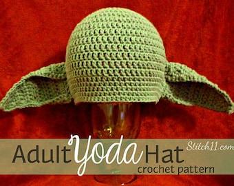 Adult Yoda Hat Crochet Pattern   Crochet Yoda Hat Pattern   Crochet Yoda Hat   Yoda Hat   Yoda Hat Crochet Pattern   PDF Download