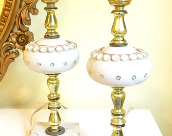 Vintage Pair of Porcelain Lamps, White & Gold, Marble Base, Table Lamps, French Style, 1950's Boudoir