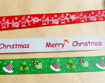 3 fabric tape Christmas Christmas Santa Hat Christmas candy masking tape adhesive fabric grosgrain red green and light grey