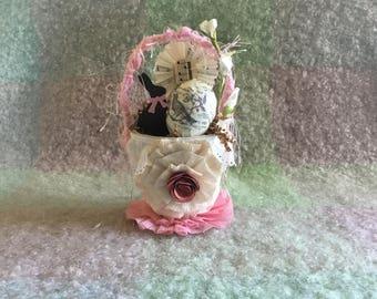 Easter basket, altered peat pot, vintage style