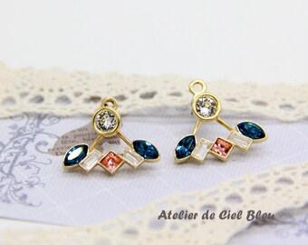 Ear Jacket Earrings, Gold Plated Swarovski Crystal Ear Jacket Earrings, Swarovski Crystal Stud Earrings with Ear Jackets