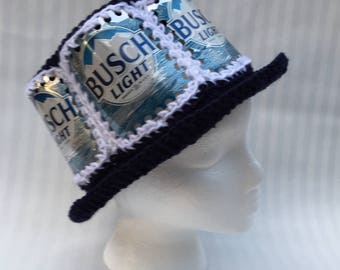 Recycled Busch Light crocheted beer can hat