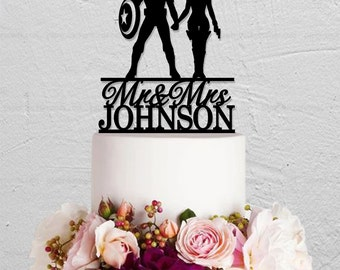 Wedding Cake Topper,Captain America Cake Topper,Black Widow Cake Topper,Mr Mrs Cake Topper,Custom Cake Topper With Last Name