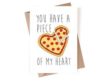 Love Card, Valentines Day Card, Heart Love Card, Pizza Heart Love Card, Anniversary Card, Boyfriend Card, For Him, Girlfriend Card, Funny