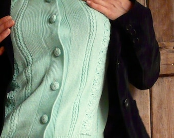 Vintage Mint-Coloured Knitted Cardigan with Knit Buttons
