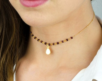 Garnet beaded choker necklace, Mother of Pearl choker, delicate choker, gemstone choker, real gemstone choker necklace, gold choker silver