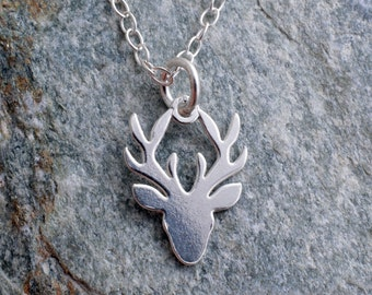 Sterling silver stag head stag's head necklace 925