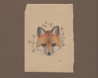 Wall art red fox art print, animal drawing, enchanted forest, fox face, flower art, pencil drawing