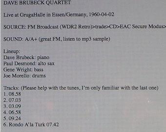 Dave Brubeck Quartet-Essen,Germany-4-2-1960-FM Broadcast