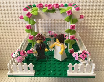 Wedding Cake Topper Garden Arbor Genuine Customised Choose Minifigures and Colours