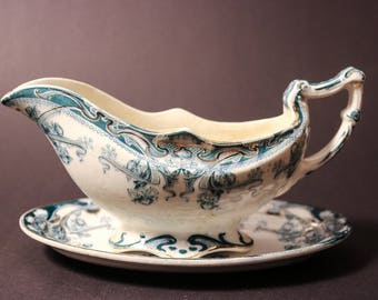 "Royal Staffordshire Pottery Gravy Boat and Dish ""Iris"""