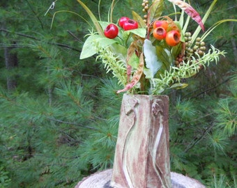 Pottery vase Ginkgo leaf Flower vase  Arts and Crafts, Mission Style Pottery handmade Sage green