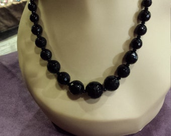 black onyx faceted beaded necklace.