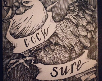"""Original 4"""" x 4"""" pen and ink crosshatch drawing: 'Cocksure' (rooster, ribbon)"""